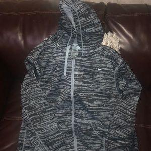 Nike XXL zipper up hoodie black green therma-fit